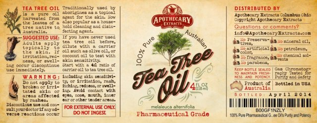 tea tree oil label